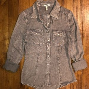 Gray Washed Long Sleeve Button Down